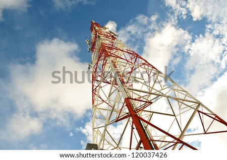 Telecommunication signal tower - stock photo