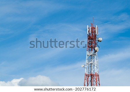 Telecommunication tower and blue sky - stock photo