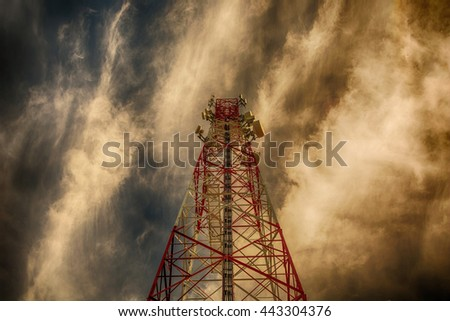 Telecommunication tower and sunset