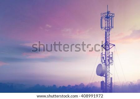 Telecommunication tower Antenna - stock photo
