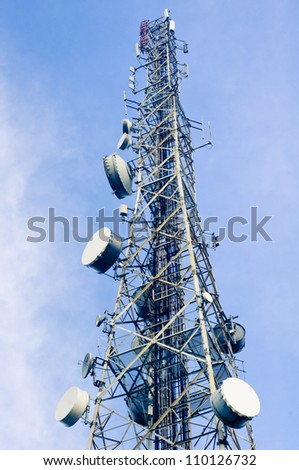 telecommunication tower, isolated on clear sky background