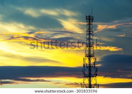 Telecommunication tower with beautiful sky background - stock photo