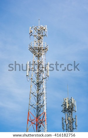 Telecommunication tower with blue sky background.