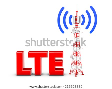 Telecommunication tower with the emitted signal and the red letters: LTE - stock photo