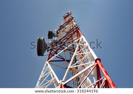 Telecommunications antenna tower - stock photo