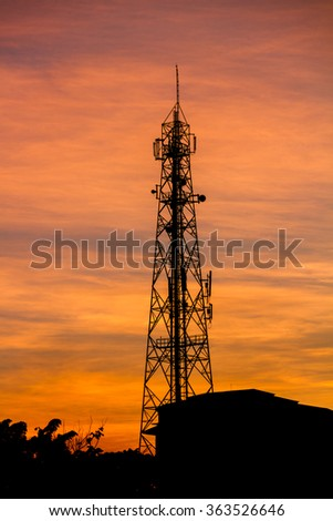 Telecommunications GSM towers with Twilight sky background