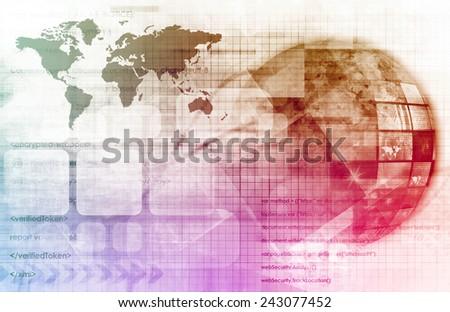 Telecommunications Technology Network Going Global as Art - stock photo
