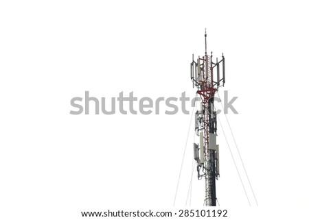 telecommunications tower on white background - stock photo