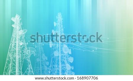 Telecommunications tower, TV, radio or mobile phone base station  - stock photo