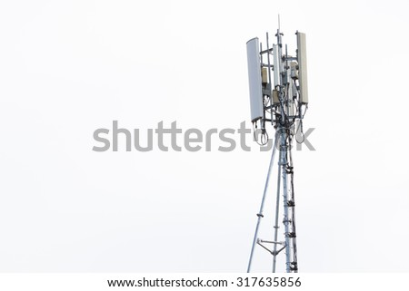 Telecommunications tower with white background - stock photo