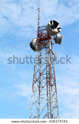telecommunications towers against and sky