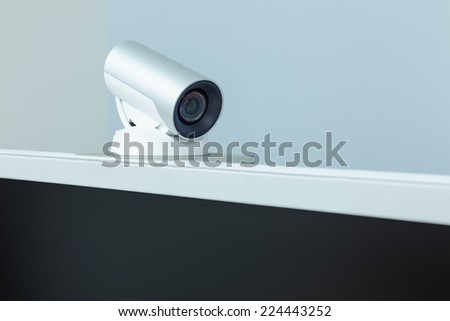 teleconference, video conference or telepresence camera with black screen display