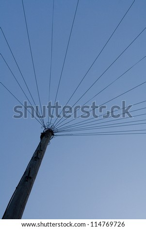 Telegraph pole from below