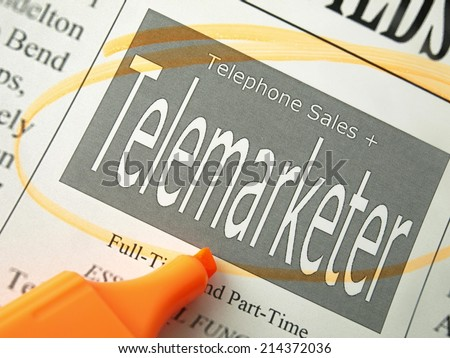 Telemarketer (Classified Ads)   - stock photo
