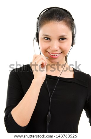 Telemarketing headset woman from call center smiling happy talking in hands free headset device. Beautiful mixed race Southeast Asian / Caucasian business woman isolated on white background. - stock photo