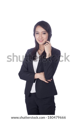 Telemarketing headset woman from call center smiling happy talking in hands free headset device. Multicultural mixed race Chinese Asian / business woman in suit isolated on white background.  - stock photo