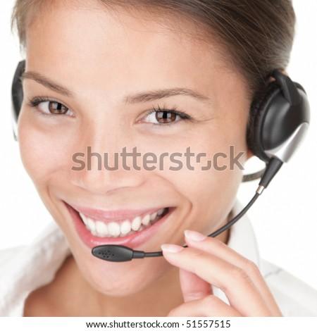 Telemarketing woman wearing headset on white background, - stock photo