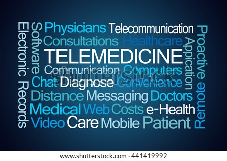 Telemedicine Word Cloud on Blue Background - stock photo