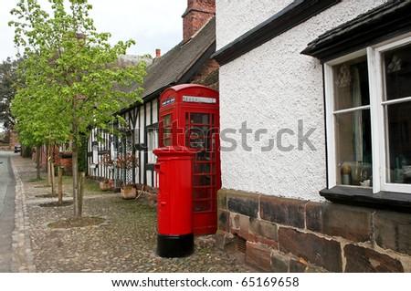 telephone and post box - stock photo