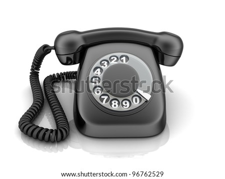 Telephone black, view front (done in 3d)