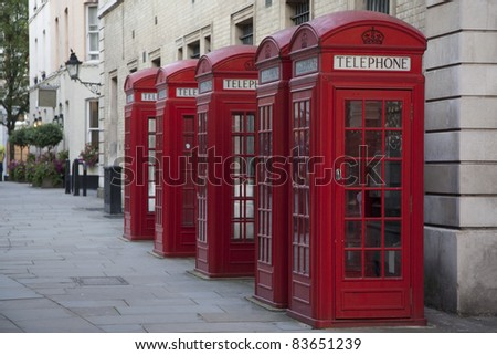Telephone Boxes near Covent Garden in London, England, UK