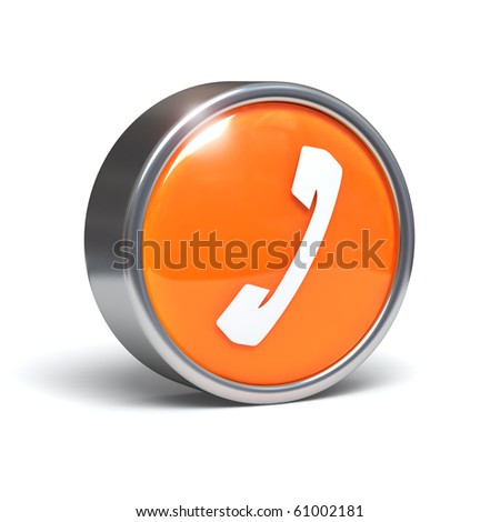 Telephone - 3D button with clipping path - stock photo