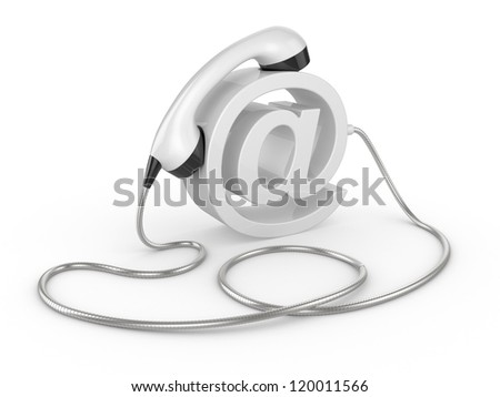 Telephone handset and  internet sign. illustration on white - contact 3d concept