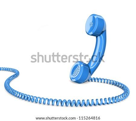 Telephone handset on white - stock photo