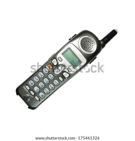 telephone handsets isolated on white background - stock photo