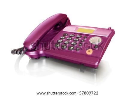 Telephone isolated on white with reflection - stock photo