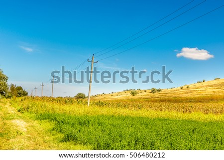 Telephone line in a countryside in eastern europe