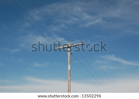 Telephone Lines Center - stock photo