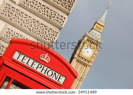 telephone near big ben in london - stock photo