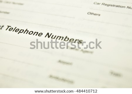 telephone number notebook contract address personal data