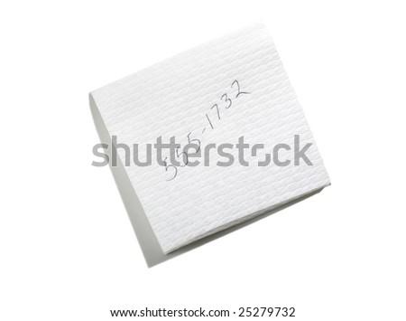 telephone number on napkin - stock photo