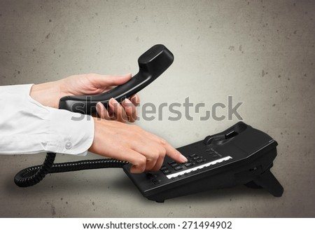 Telephone, On The Phone, Dialing. - stock photo