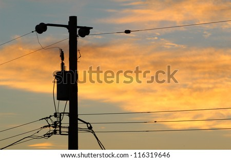 Telephone Pole and Wires - stock photo
