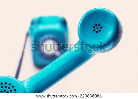 Telephone receiver close up - stock photo
