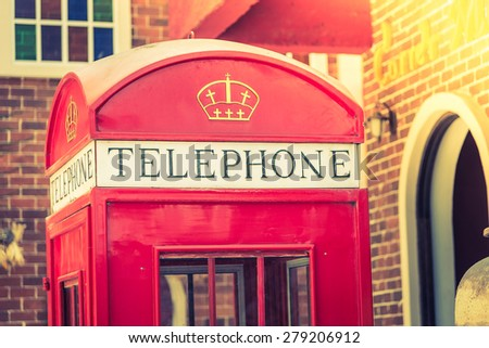 Telephone red box - vintage effect and light filter processing
