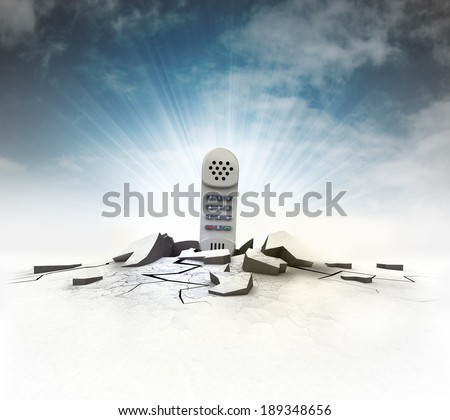 telephone stuck into ground with flare and sky illustration - stock photo