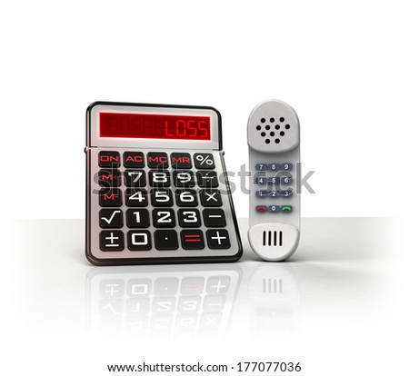 telephone with negative business calculations  isolated on white illustration