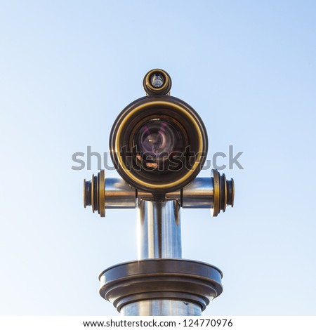 telescope on platform with view to Frankfurt - stock photo