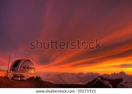 telescope on sunset - stock photo