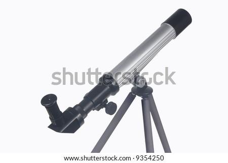 Telescope on tripod isolted on white background - stock photo