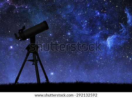 Telescope silhouette against the starry sky. Elements of this image furnished by NASA - stock photo
