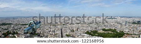 Telescope viewer and city skyline at daytime. Paris, France. Taken from the tour Montparnasse - stock photo