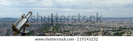 Telescope viewer and city skyline at daytime. Paris, France. Taken from the tour Montparnasse with the Eiffel Tower, Le Grande Palais, Les Halles, St. Eustace & La Defense clearly visible - stock photo