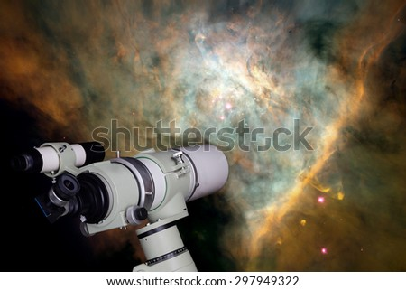 Telescope watching the star. Elements of this image furnished by NASA. - stock photo