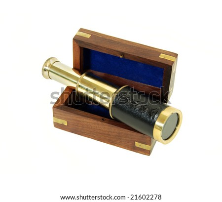 Telescoping telescope used to see distances, Wooden box with brass corner inlays