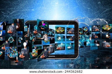 Television and internet production .technology and business concept in the old texture - stock photo